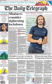 The Daily Telegraph front page for 11 January 2021