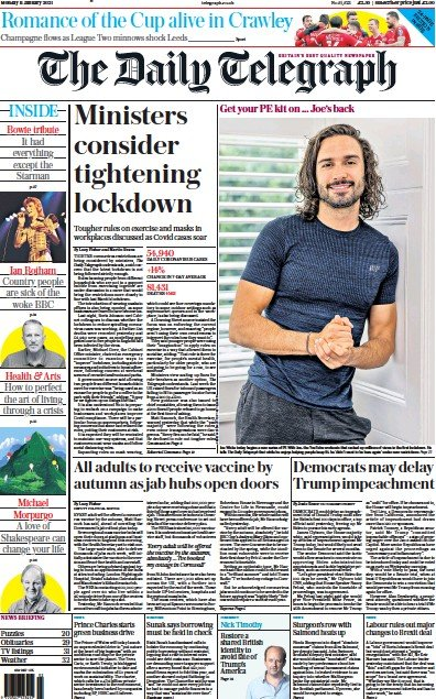 The Daily Telegraph Newspaper Front Page (UK) for 11 January 2021