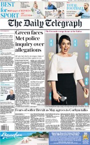 The Daily Telegraph () Newspaper Front Page for 11 February 2019