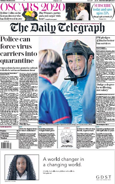 The Daily Telegraph Newspaper Front Page (UK) for 11 February 2020