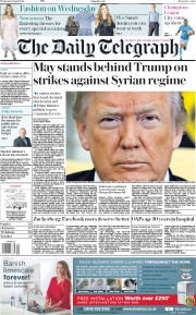 The Daily Telegraph (UK) Newspaper Front Page for 11 April 2018