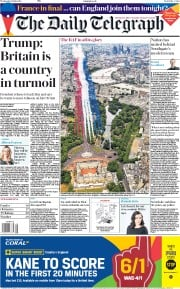 The Daily Telegraph (UK) Newspaper Front Page for 11 July 2018