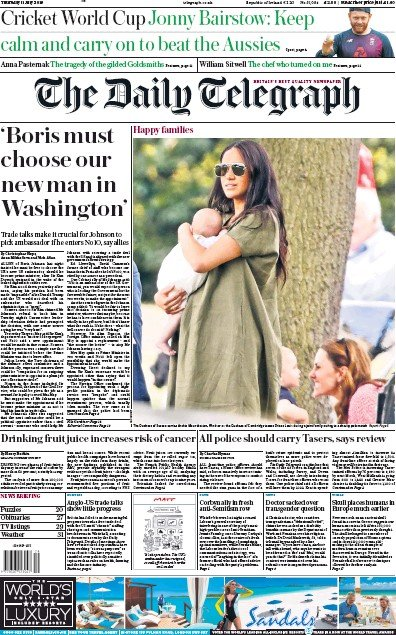 The Daily Telegraph Newspaper Front Page (UK) for 11 July 2019