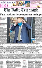 The Daily Telegraph front page for 11 July 2020