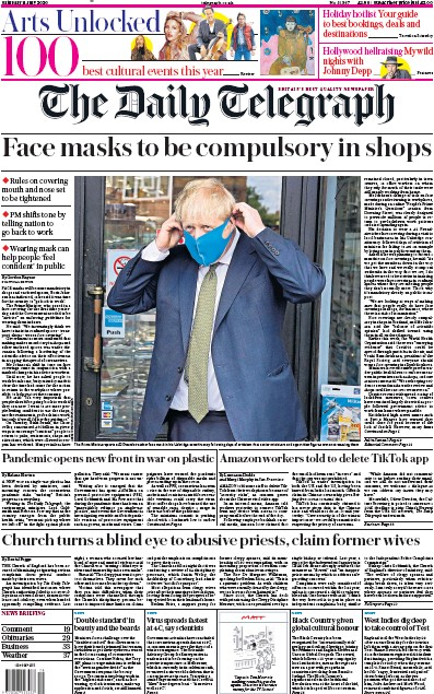 The Daily Telegraph Newspaper Front Page (UK) for 11 July 2020