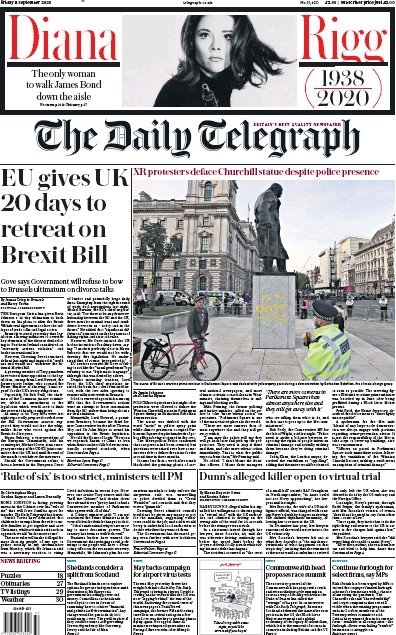 The Daily Telegraph Newspaper Front Page (UK) for 11 September 2020