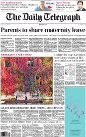The Daily Telegraph Newspaper Front Page (UK) for 12 October 2012
