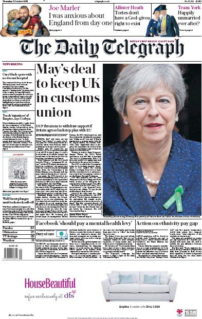 The Daily Telegraph Newspaper Front Page (UK) for 12 October 2018