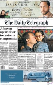 The Daily Telegraph (UK) Newspaper Front Page for 12 October 2019