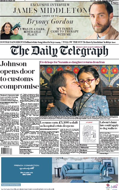 The Daily Telegraph Newspaper Front Page (UK) for 12 October 2019
