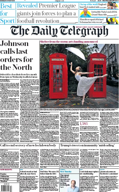 The Daily Telegraph Newspaper Front Page (UK) for 12 October 2020
