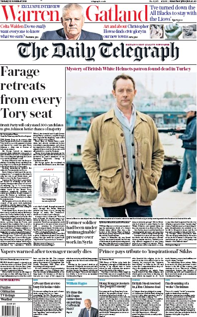 The Daily Telegraph Newspaper Front Page (UK) for 12 November 2019
