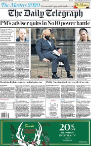 The Daily Telegraph front page for 12 November 2020