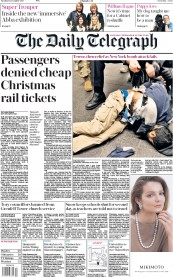 The Daily Telegraph (UK) Newspaper Front Page for 12 December 2017