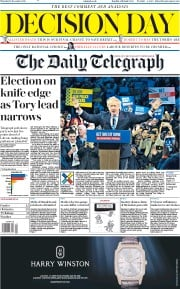 The Daily Telegraph () Newspaper Front Page for 12 December 2019