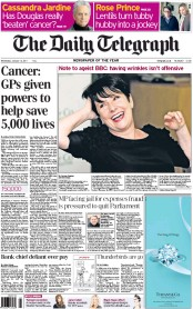 The Daily Telegraph (UK) Newspaper Front Page for 12 January 2011