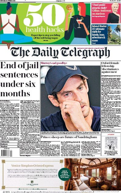 The Daily Telegraph Newspaper Front Page (UK) for 12 January 2019