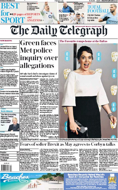 The Daily Telegraph Newspaper Front Page (UK) for 12 February 2019