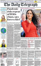 The Daily Telegraph front page for 12 February 2021
