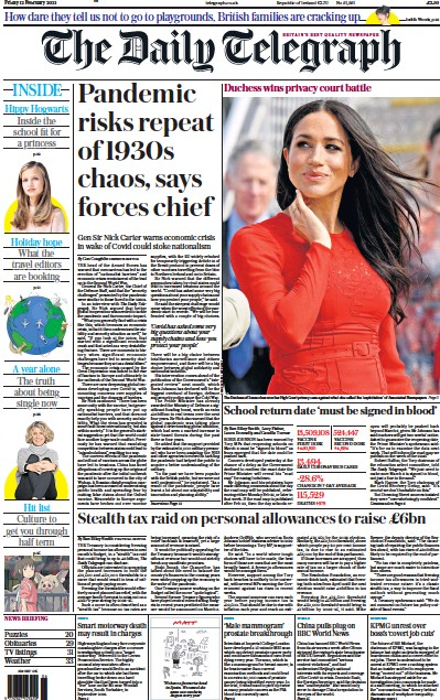The Daily Telegraph Newspaper Front Page (UK) for 12 February 2021