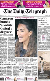 The Daily Telegraph (UK) Newspaper Front Page for 12 April 2011