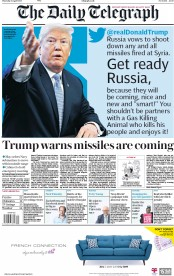 The Daily Telegraph (UK) Newspaper Front Page for 12 April 2018
