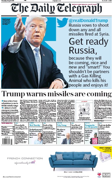 The Daily Telegraph Newspaper Front Page (UK) for 12 April 2018