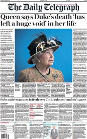 The Daily Telegraph front page for 12 April 2021