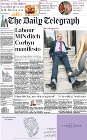 The Daily Telegraph (UK) Newspaper Front Page for 12 May 2017