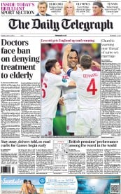 The Daily Telegraph Newspaper Front Page (UK) for 12 June 2012