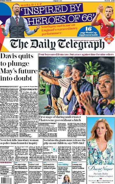 The Daily Telegraph Newspaper Front Page (UK) for 12 July 2018