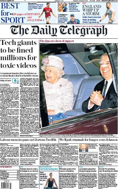 The Daily Telegraph Newspaper Front Page (UK) for 12 August 2019