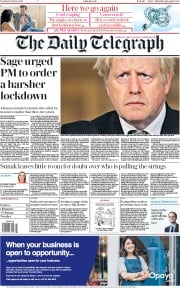 The Daily Telegraph front page for 13 October 2020