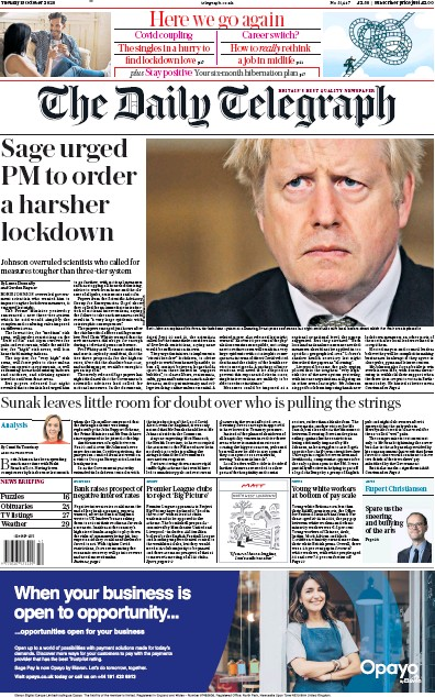 The Daily Telegraph Newspaper Front Page (UK) for 13 October 2020