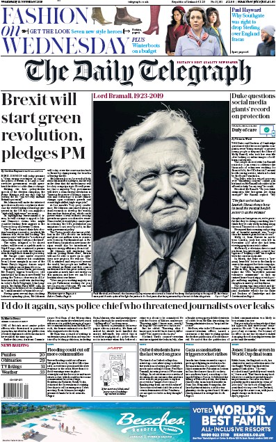 The Daily Telegraph Newspaper Front Page (UK) for 13 November 2019