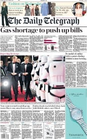 The Daily Telegraph (UK) Newspaper Front Page for 13 December 2017