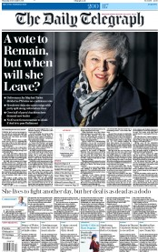 The Daily Telegraph (UK) Newspaper Front Page for 13 December 2018