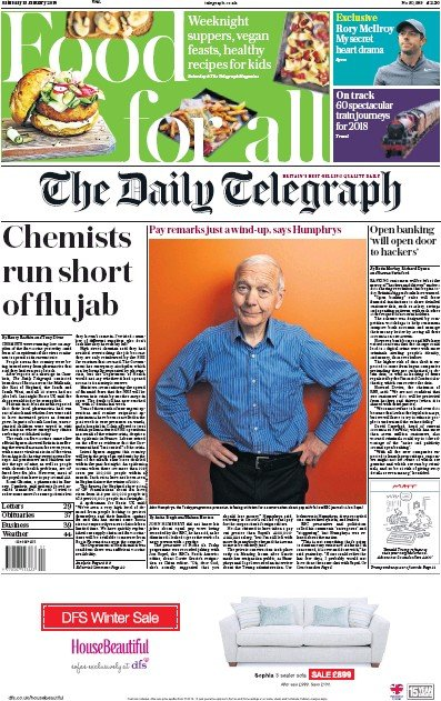 The Daily Telegraph Newspaper Front Page (UK) for 13 January 2018