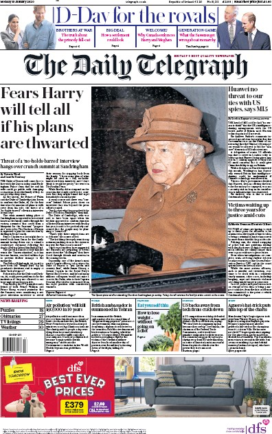 The Daily Telegraph Newspaper Front Page (UK) for 13 January 2020