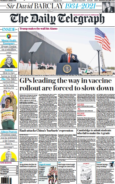 The Daily Telegraph Newspaper Front Page (UK) for 13 January 2021