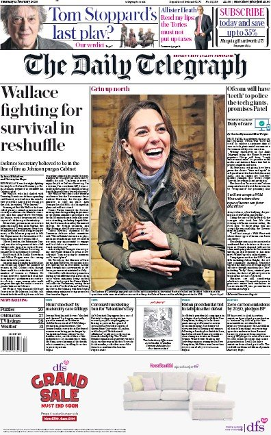 The Daily Telegraph Newspaper Front Page (UK) for 13 February 2020