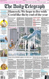The Daily Telegraph front page for 13 February 2021