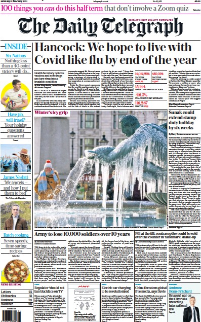 The Daily Telegraph Newspaper Front Page (UK) for 13 February 2021