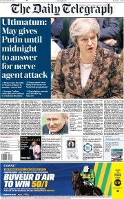 The Daily Telegraph (UK) Newspaper Front Page for 13 March 2018