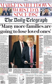The Daily Telegraph (UK) Newspaper Front Page for 13 March 2020
