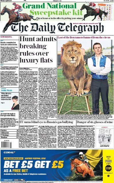 The Daily Telegraph Newspaper Front Page (UK) for 13 April 2018