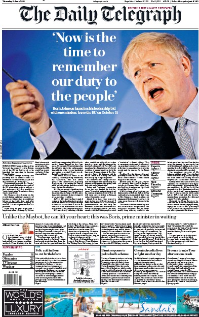 The Daily Telegraph Newspaper Front Page (UK) for 13 June 2019
