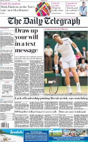 The Daily Telegraph (UK) Newspaper Front Page for 13 July 2017
