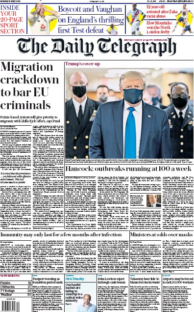 The Daily Telegraph Newspaper Front Page (UK) for 13 July 2020