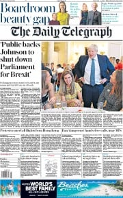 The Daily Telegraph (UK) Newspaper Front Page for 13 August 2019